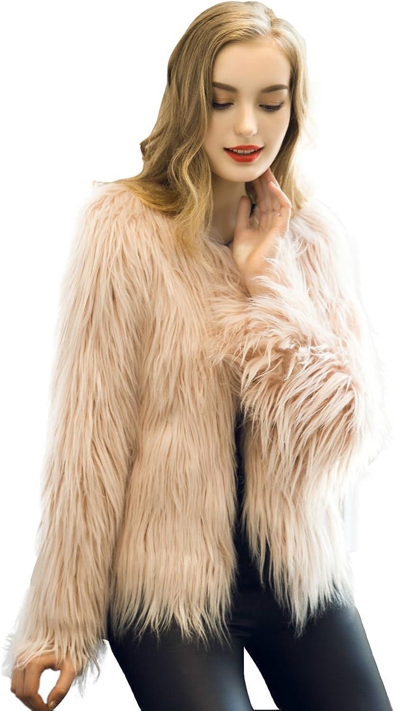 Caracilia Women Vintage Winter Outwear Warm Fluffy Faux Fur Coat Jacket Luxury