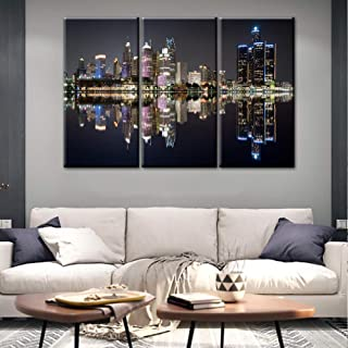 Panoramic Detroit Cityscape Picture, Black and White Michigan Night Skyline Stretched Canvas Art Prints, Wall Decoration for Bedroom or Office, Framed and Ready to Hang - 40'' x 20'' x 3 panels