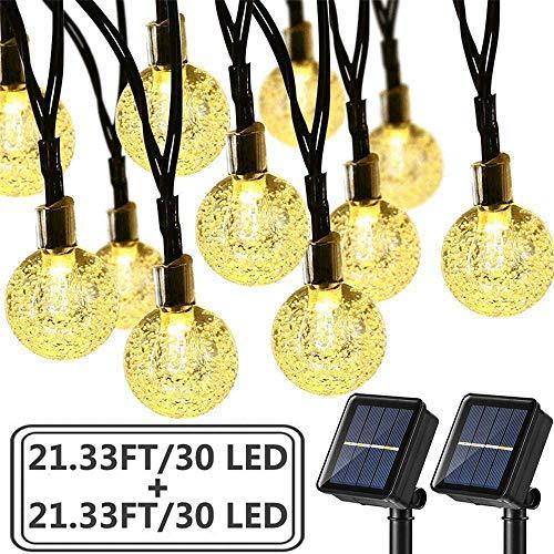 Brizled 2 Pack Solar String Lights, 21.33ft 30 LED Solar Globe String Lights Outdoor Waterproof 8 Modes Crystal Ball String Lights for Yard Patio Garden Wedding Pergola Gazebo Bistro Party, Warm White
