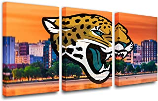 Cityscape Paintings National Football League Picture Jacksonville Jaguars Wall Art Prints on Canvas House Decor Green Tree Artwork for Office Gallery-Wrapped Framed Ready to Hang(42''W x 20''H)