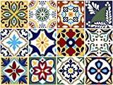 BRIKETO Talavera Decorative Tile Stickers Set 12 Units 6x6 inches. Peel & Stick Vinyl Tile Look Stickers. Backsplash. Home Decor. Furniture Decor. Staircase Decor. 3 sqf per Package.