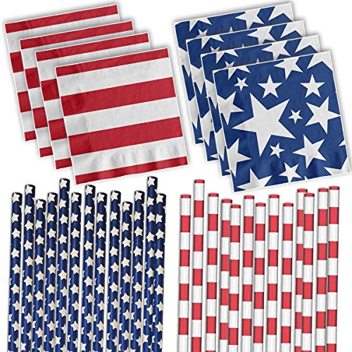 Patriotic Stars & Stripes Party Supplies - Paper Straws and Napkins