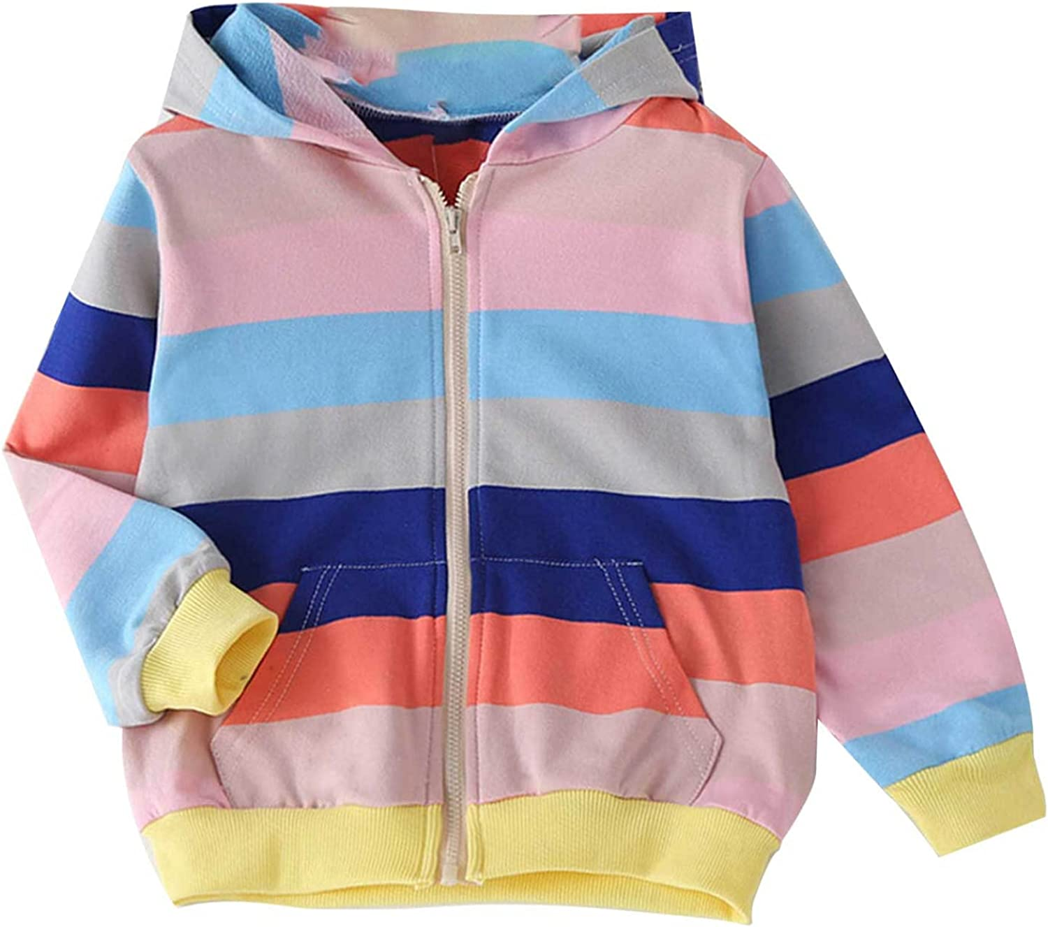 Loyan Girls Toddler Zip up Hoodie Sweatshirt Youth Pullover Rainbow Loose Hooded Tops Jumper Outfits with Pockets