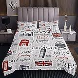Tbrand Juego de ropa de cama de Londres para niños y niñas, diseño de cabina de teléfono, color rojo