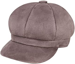 Hat Octangular hat Autumn and Winter New Warmth Savage Beret Cap Circumference (Color : Brown, Size : M56-58cm)