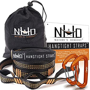 HangTight Hammock Straps With Carabiners - Quick & Easy Setup For All Hammocks. Extra Strong, Lightweight & Tree Friendly. No Stretch Polyester. 20 Feet Long & 32 Adjustable Loops Total