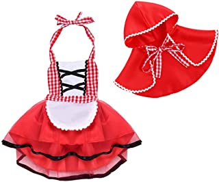 Little Red Riding Hood Costume, Toddler Girls Baby Child's Fancy Dress Outfits Halter Backless Clothes Set Size 18-24 Months
