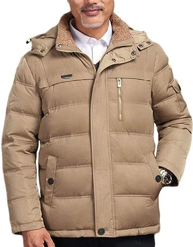 Hommes Veste Blouson, Vêtements d'hiver épaissir Veste Chaude, Manteau De Coton De Mode D'age Moyen (Couleur   Kaki, Taille   L)