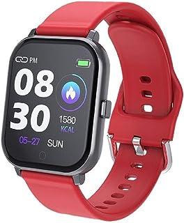 Smartwatch frecuencia cardíaca presión arterial fitness pulsera deportiva podómetro deportes impermeable reloj Smartwatch(Color:rojo)