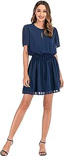 NA Women's Casual Short Sleeve Bodycon Tight Mini Dress Cocktail Party Pencil Ruffle Hem Dresses