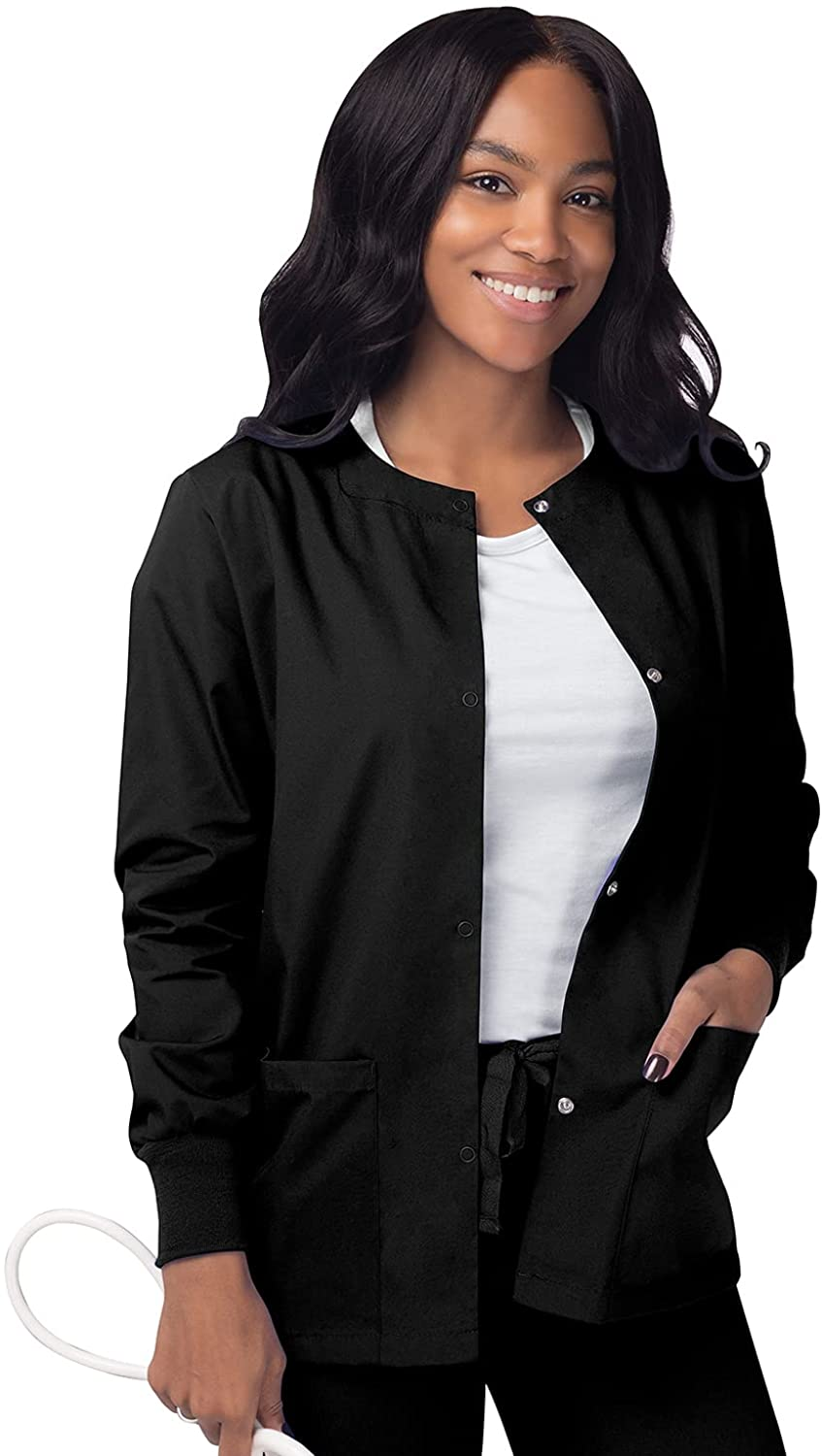 Sivvan Women's Scrubs Warm-Up Jacket/Front Snaps - Round Neck: Clothing, Shoes & Jewelry