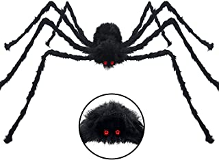 Pawliss Halloween Yard Decorations, 6.6 feet 200cm Giant Scary Spider Outdoor Decor, Fake Large Hairy Spider Props