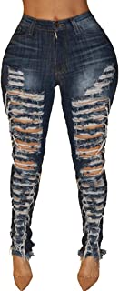 Women's Fashion Low Waist Ripped Hole Denim Jean Skinny Jeans Blue Jeans with Holes for Women Sexy Big Hip Denim Trousers Denim Pant with Pockets S-XXL