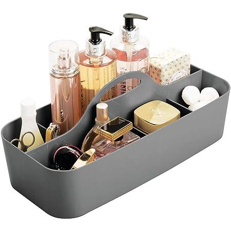 mDesign panier de salle de bain en plastique avec poignée – rangement cosmétiques, cuisine ou range-torchons – petite boîte de rangement – gris foncé