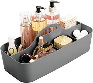 mDesign Plastic Portable Storage Organizer Caddy Tote - Divided Basket Bin with Handle for Bathroom, Dorm Room - Holds Hand Soap, Body Wash, Shampoo, Conditioner, Lotion - Extra Large - Charcoal Gray