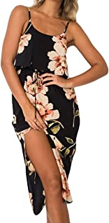 aihihe Women's Summer Casual Loose Dress Beach Cover Up Long Cami Maxi Dresses with Belt