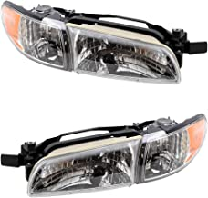 Driver and Passenger Headlights Headlamps Replacement for 97-03 Grand Prix
