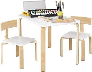 comprar comparacion Homfa Juego de Mesa y 2 Sillas para Niños Muebles Infantiles Mesa con Sillas para Ñinos de 2-10 Años Blanco