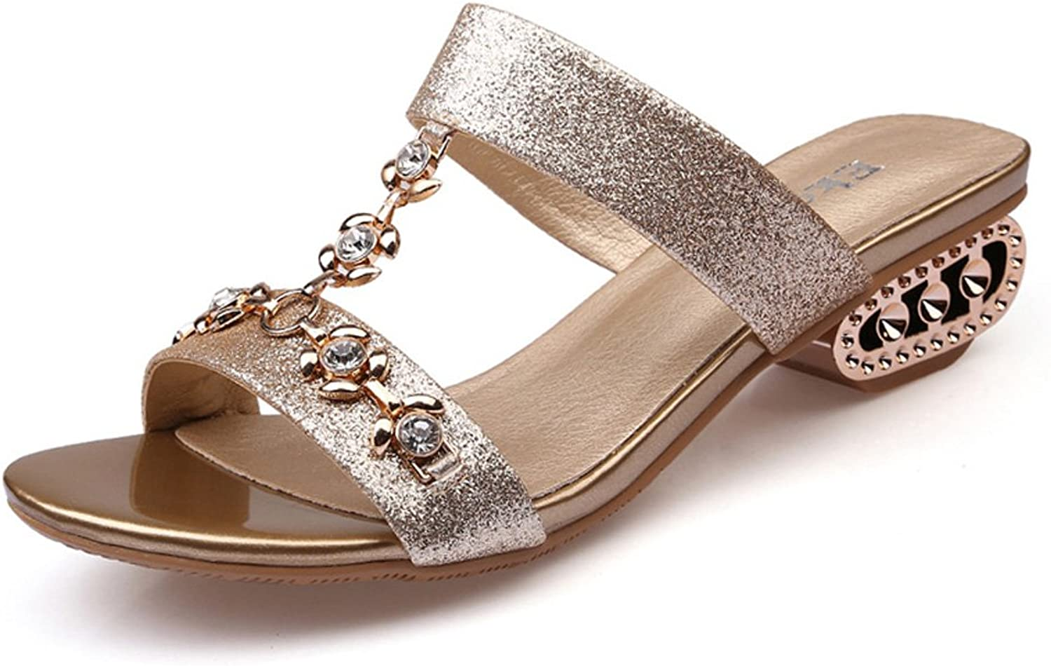 Genepeg Womens Sandals Ladies Party shoes Summer Rhinestone Cut-Outs Medium Heels shoes