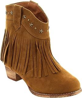 I Yokids Cece-65K Girl's Modern Studded Fringe Cowboy Chunky Ankle Bootie