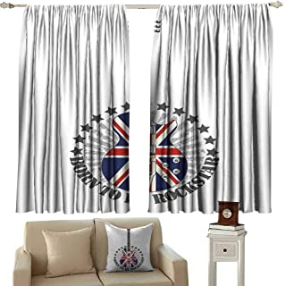 Wlkecgi Novel Curtains Rock Music Union Jack Patterned Guitar Stars Union Jack Design Musical Instrument Blackout Draperies for Bedroom Window W63 xL63 Red Royal Blue Cream