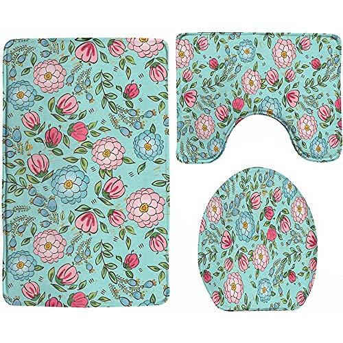 tyutrir Juego de 3 alfombrillas de baño antideslizantes de felpa, diseño de rosas en flor