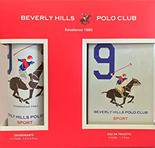 Beverly Hills Polo Club Sports EDT for Men, 50ml with Deodrant, No 9, 175ml