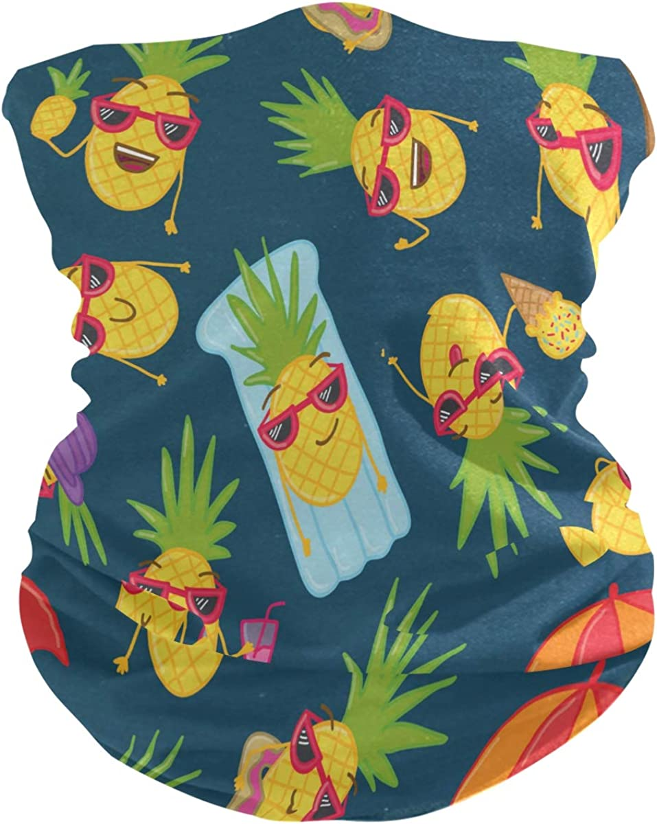 Face Scarf Bandana Neck Gaiter Doodle Pineapples Headband Headwear for Cycling Fishing Hiking Camping