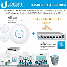 UniFi AP AC LITE UAP-AC-LITE-US Pre Configured Dual-Radio Access Point PoE (3-Units) with UniFi Managed Switch US-8-150W PoE+ Gigabit 8-Ports with SFP (Ready to Install)