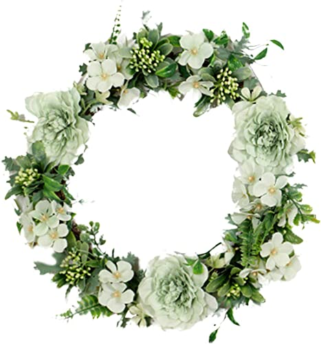 discount 11.8In Camellia Flower Wreath Artificial Flowers Garland Wreath Handmade Home Decor Front Door Hanging lowest Wreath new arrival Spring Easter Wreath for Wedding Holiday Party sale