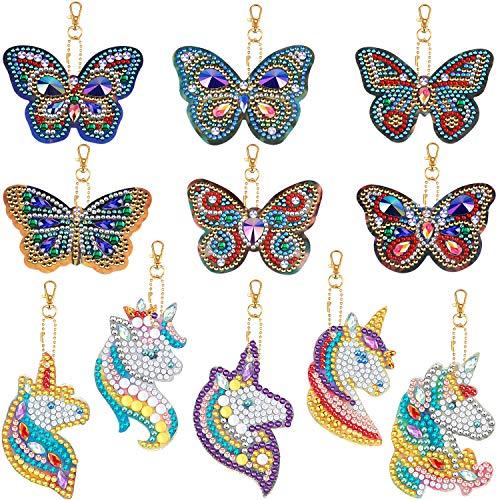 11 Llaveros de Pintura de Diamantes DIY Colgante de Pintura de Diamantes con Taladro Completo de Mosaico 5D Llaveros de Diamantes de Unicornio de Mariposa para Manualidades Encanto de Teléfono Bolsa