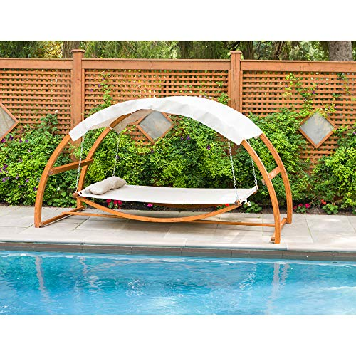 Leisure Season SBWC402 Swing Bed With Canopy - Brown - 1 Piece - 2-Person Covered Hammock With...