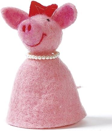 Preisvergleich für Baden Dekorativer Niedlicher Eierwärmer Pinkes Schwein mit Perlenkette aus Filz (1)