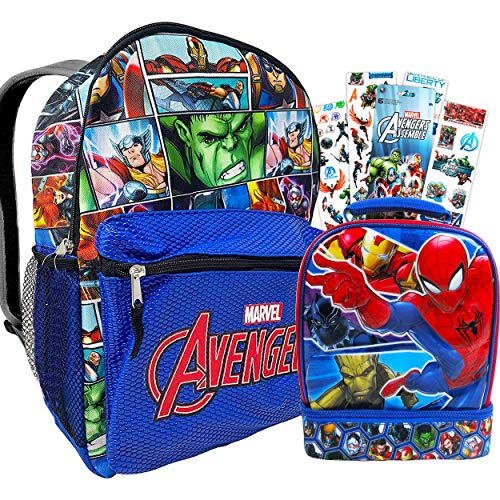 Marvel Avengers Backpack and Lunch Box for Kids Bundle ~ Deluxe 16' PU Leather Backpack and Insulated Lunch Bag with Stickers (Avengers School Supplies)