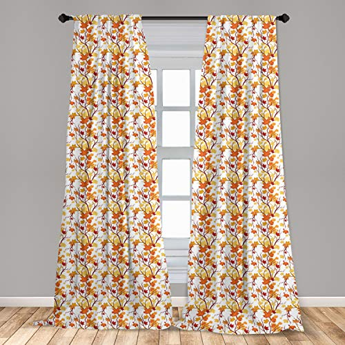 """Ambesonne Fall Window Curtains, Swirling Fall Leaves with Shady Seasonal Elements Aesthetic Nature Image, Lightweight Decorative Panels Set of 2 with Rod Pocket, 56"""" x 63"""", Orange Yellow"""