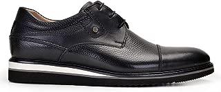 0248-530 GOK001-Antik Siyah 201 - Floter Siyah 701 Nevzat Onay Bağcıklı Siyah Günlük Deri Erkek Ayakkabı