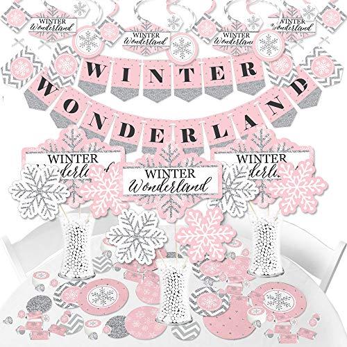 Big Dot of Happiness Rosa Winter Wonderland – Fiesta de cumpleaños de copo de nieve y suministros de baby shower – Kit de decoración de pancartas – paquete de Fundle