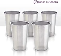 Pratico Outdoors Clean Steel Stainless Steel Cups (Pack 5 or 2) - Multi-Purpose 16 oz Pint Glasses Made from BPA Free Premium 18/8 Electropolished SS Metal