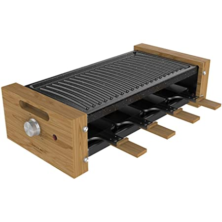 Cecotec Cheese&Grill 8200 Wood Raclette Puissance 1200 W Surface Grill 8 Poêles individuelles Thermostat réglable Design amovible