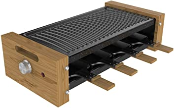 Cecotec Cheese&Grill 8200 Wood Raclette Puissance 1200 W Surface Grill 8 Poêles individuelles Thermostat réglable Design a...