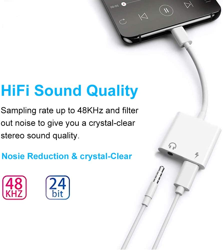 Cable de USB C /& Aux 3.5 mm Splitter Doble Convertidor Conector para iPad Pro 2 en 1 3.5 mm Adaptador de Auriculares Aux /& USB C Carga Rapida S20 Ultra S10 Note Mate 10 20 40 Pro