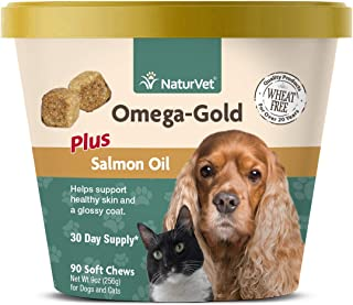 NaturVet – Omega-Gold Plus Salmon Oil – Supports Healthy Skin & Glossy Coat – Enhanced with DHA, EPA, Omega-3 & Omega-6 – ...