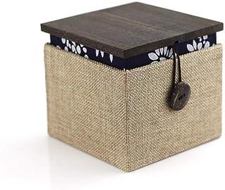 SHYPT Boîte de rangement pliable avec couvercle pour documents décoratifs, organiseur de rangement avec classement en lin,...