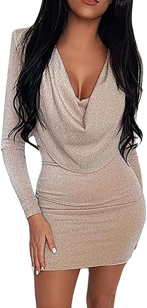 FUNEY 2021 Trendy Sequins Elegant Sleeve Ranking TOP14 Wrap Bodycon Long Front Genuine Free Shipping