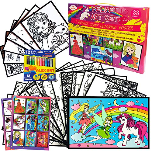 Velvet Coloring Posters for Girl Gifts - Arts and Crafts for Girls - Fuzzy Posters to Color for Kids Age 4yr-8yr - Best Christmas Birthday Gift for 5 6 7 Year Old Girl (Princess & Unicorn Present)
