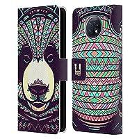 Head Case Designs Panda Aztec Animal Faces Xiaomi Redmi Note 9T 5G 専用レザーブックウォレット カバーケース