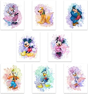 Mickey Mouse Watercolor Prints - Unframed Set Of 8 (8 Inches X 10 Inches) Mickey Mouse Wall Art Decor - Minnie Mouse Room ...