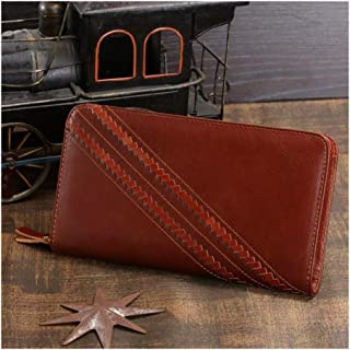 Men's Leather Clutch Bag Wallet Card Bag Woven Decorative Fashion Trend is The Choice for Shopping and Leisure (Color : Brown, Size : S)