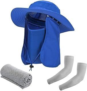 قبعة صيد من بيشيز قبعة شمس واسعة الحواف للرجال والنساء قبعة صيفية قابلة للإزالة شبكية للرقبة وغطاء الوجه