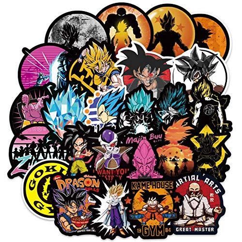 SGOT Jojos Aufkleber, One Piece Stickers, Wasserdicht Vinyl Demon Slayer Stickers, Anime Decals für Auto Motorräder Gepäck Skateboard Laptop Aufkleber(100 Stück Dragonball)